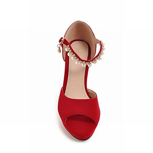 MissSaSa Damen high heel ankle-Strap peep toe Pumps mit künstlich Perlen Rot(Nubuck)