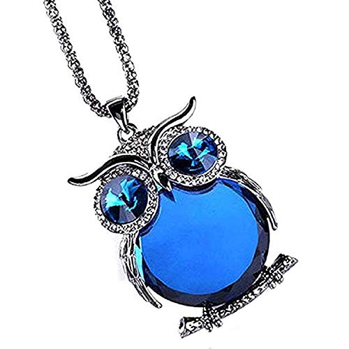 Windoson Womens Pendant Jewelry Offer owl Pendant Necklace Ladies Glass cabochon Necklace Jewelry Gift Offer Necklace (Dark Blue)