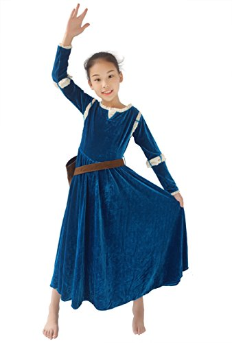 DAZCOS Kids Girls Princess Gown Green Cosplay Dress and Quiver (Child Medium) -
