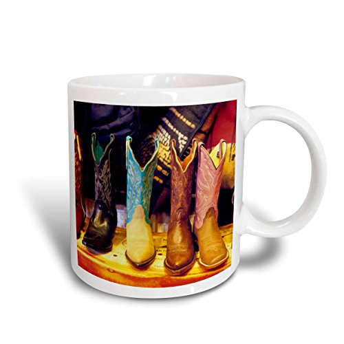3dRose 92617_5 Cowboy Boots, Old Town Albuquerque, NM-US32 JGI0001-Jerry Ginsberg Two Tone Mug, 11 oz, Red/White