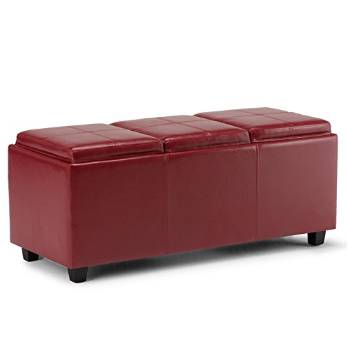 Burgundy Leather Ottoman - Simpli Home Avalon Faux Leather Rectangular Storage Ottoman with 3 Serving Trays, Large, Red