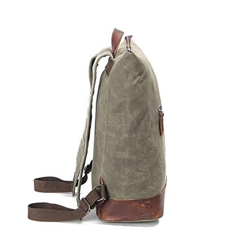 Mochila bolsa de tela vintage resistente al agua la primera capa de cuero bolsa de lona para mujeres hombres cartera maletín reforzado mochilas, ...