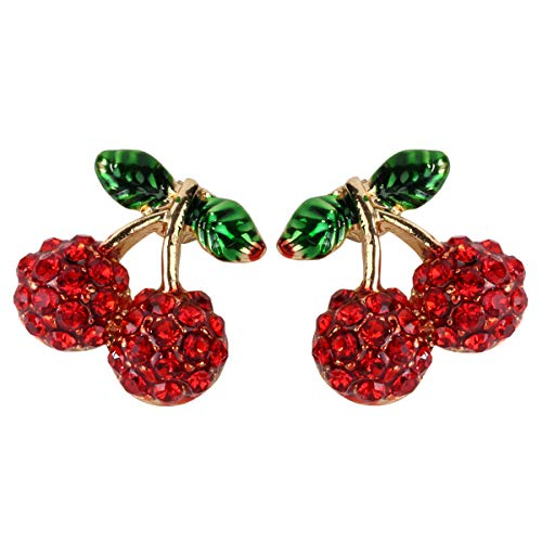 Hiddleston Cherries De Red Cherry Fruit Charm Piercing Stud Earrings Jewelry For Women Teen Girl (Ruby Charm Nouveau)