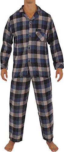 (NORTY - Mens Cotton Plaid Flannel Sleep Pajama Sets, Blue, Grey 40002-XX-Large)