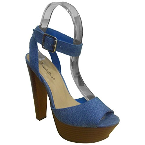 Breckelles Dames Bonnie-24 Schattige Open Teen Stiletto Plateau Sandalen Blauwe Denim
