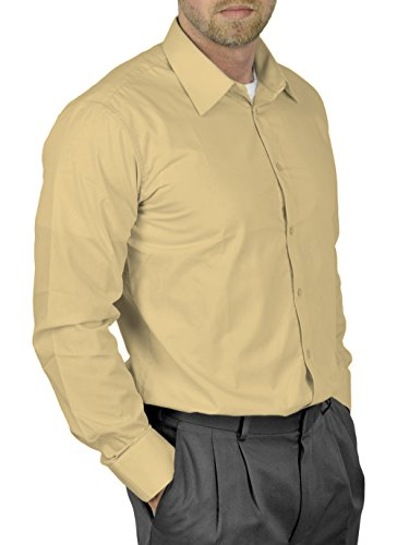 Moda Di Raza Mens Dress Shirt Slim and Regular Fit Office Casual French Cuff Tan ()
