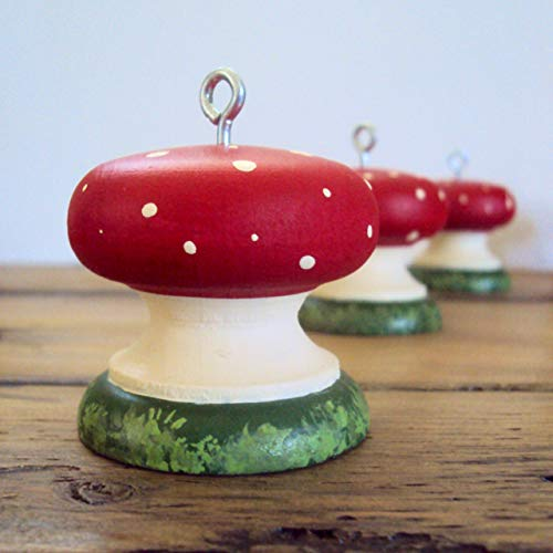 Wooden Toadstool Ornament - Woodland Mushroom Decoration - Hanging Fairy Decor - Garden Christmas Ornament