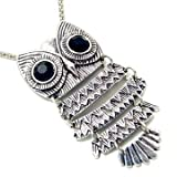 "Unique ZAD Large Antique Silver Tone Owl with Black Eyes on Long 30"" Chain"