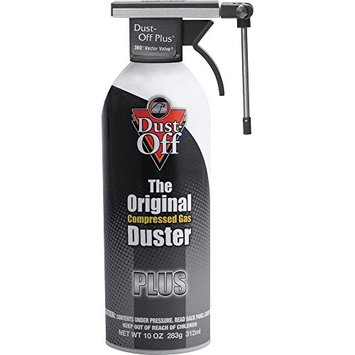 - Falcon Products - Dust Off Plus Cleaner, 10 oz - Sold as 1 EA - Nonflammable Dust-Off Plus delivers a clean, triple-filtered blast of nontoxic gas that quickly removes dust, lint and other contaminants from computers, CRTs, disk and tape drives, diskettes, media storage files and general office equipment. The Vector Valve rotates 360 degrees with a 180-degree vertical orientation so you can direct spray in any direction. Great for hard to reach places. Unique nozzle allows you to keep duster upr