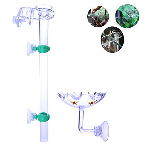 7.8in Feeder Tube and Shrimp Fish African Dwarf Frogs Axolotls Feeding Dish Feed Food Tray - Transparent Basin -Never Run Out of Food for Shrimps- Prevent Food Spilling & Aquarium Contamination