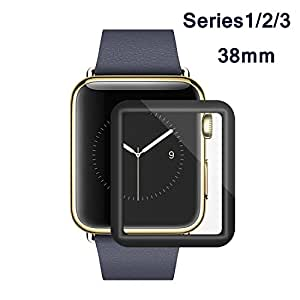 Apple Watch Screen Protector 38mm, iWatch Tempered Glass Screen Protector, Anti-Scratch, Scratch Resistant, 3D Full Screen Coverage for Apple Watch 38mm Series 3/2/1 [1 Pack, Black]
