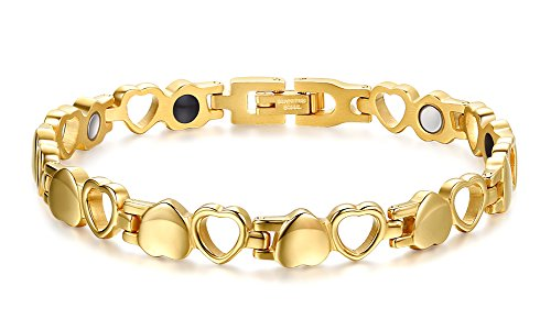Gold Magnetic Bracelets - chaninely Magnetic Therapy Bracelet Titanium Stainless Steel Magnet Bracelets for Women Arthritis and Joint Pain 8.3