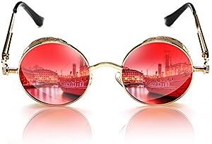 1b5436b7a06 Rocknight Gothic Steampunk Polarized Sunglasses For Men Women Round UV  Protection Metal Frame