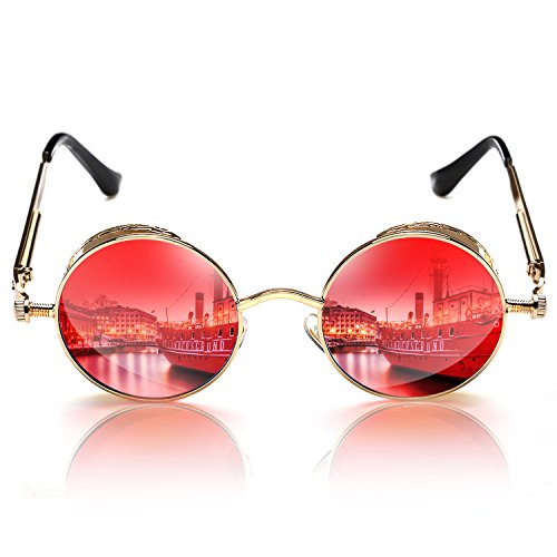 Rocknight Gothic Steampunk Sunglasses For Men Women Round Yellow lens Metal Frame - Frame Steampunk