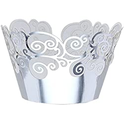 Tinksky Cupcake Wrappers Cupcake Cases Cupcake Holders Muffin Cups for Wedding Baby Shower Party,50pcs(Silver)