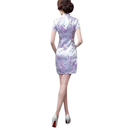 corte Cheongsam Hzjundasi Broccato Vestito Qipao Cinese Stampato Floreale sera Donne Maniche Retro 15 da Tradizionale 8S8BU0