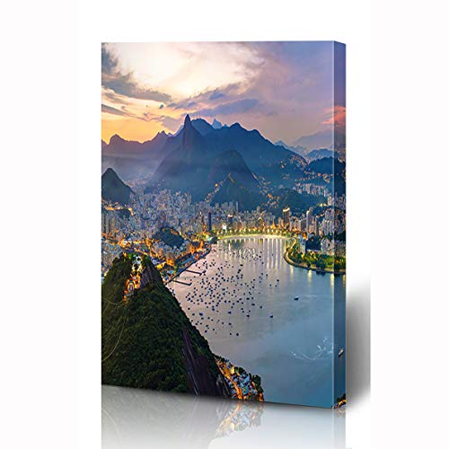 Wall Cityscape Bracket (Ahawoso Canvas Prints Wall Art 8x10 Inches Cityscape America Rio De Janeiro Brazil Tourist Holidays South Beach Copacabana Guanabara Water Wooden Frame Printing Home Living Room Office Bedroom)