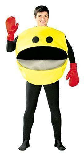 Mens Yellow Pacman Unisex Costume. Ideal for 80s dress up, gamer conventions. Dress-up as one of the most popular computer game characters from the 1980s.