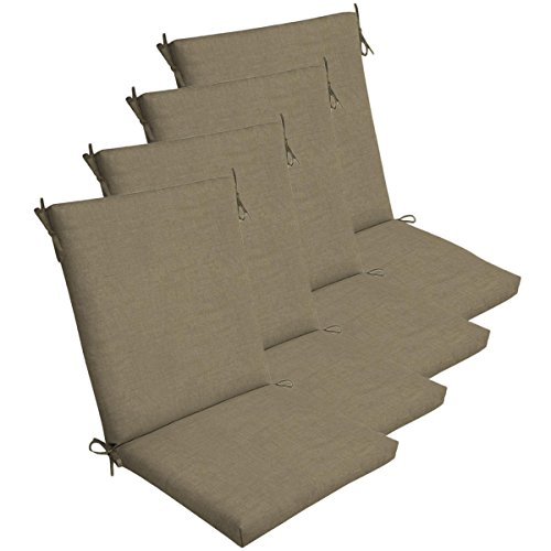 Comfort Classics Inc. Set of 4 Outdoor Dining Chair Cushions 20''x 44''x 3.5''T; H-24 in Polyester Fabric Sandstone Leala Texture by by Comfort Classics Inc.
