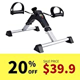 SYNTEAM Foldable Pedal Exerciser with LCD monitor bike exercise machine for Seniors-Fully Assembled, No Tools Required(Black)