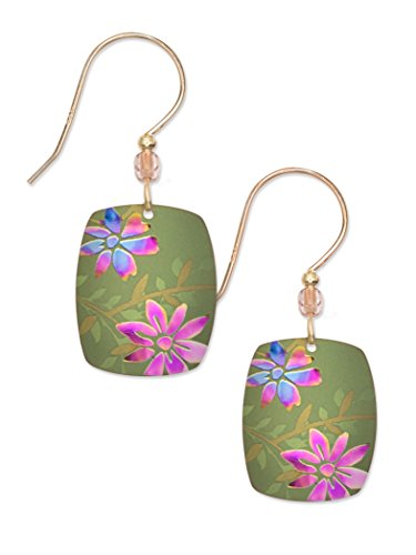 Green Meadow Floral Earrings for Women and Girls, Hypoallergenic Dangle Jewelry with Bead for Formal and Everyday Wear, Bohemian Glass Fashion Jewelry - Holly Yashi