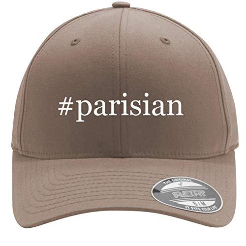 #Parisian - Adult Men's Hashtag Flexfit Baseball Hat Cap, Khaki, Small/Medium