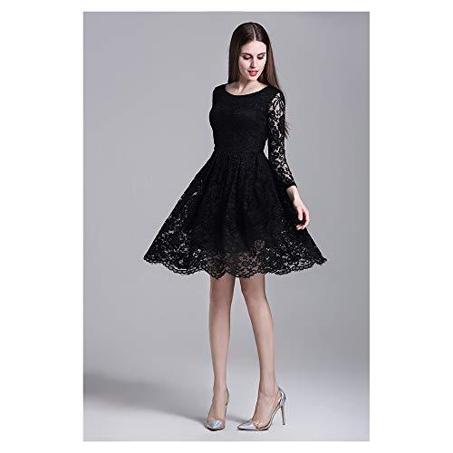 Taille Color Floral Haute BBethun en Size de pour Black Dentelle imprim Jupe Femme Robe S lgante Red SwBx7zAqBI