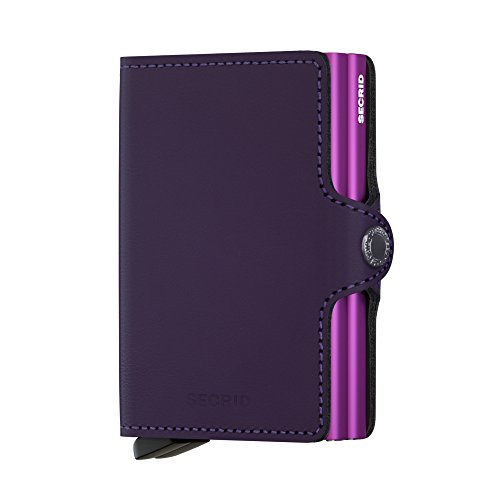 Secrid Twin Wallet, Matte Purple, Leather with RFID Protection, Holds up to 16 Cards ()