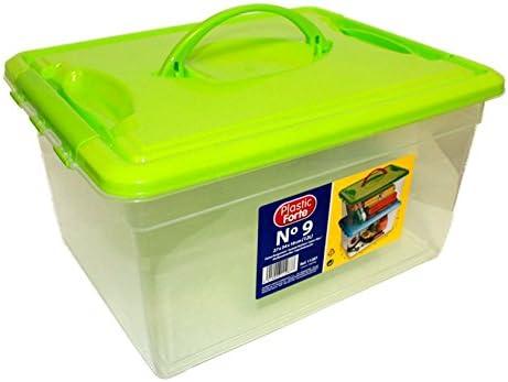 Plastic Forte - Caja de ordenación 12 litros con Tapa Verde ...