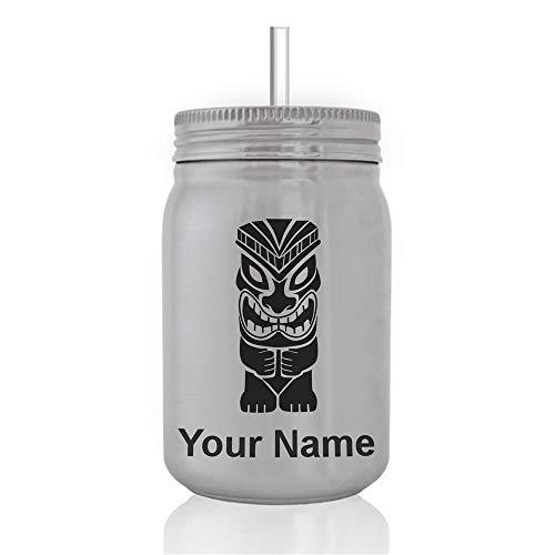 SkunkWerkz Mason Jar Sports Bottle, Tiki Statue, Personalized Engraving Included -