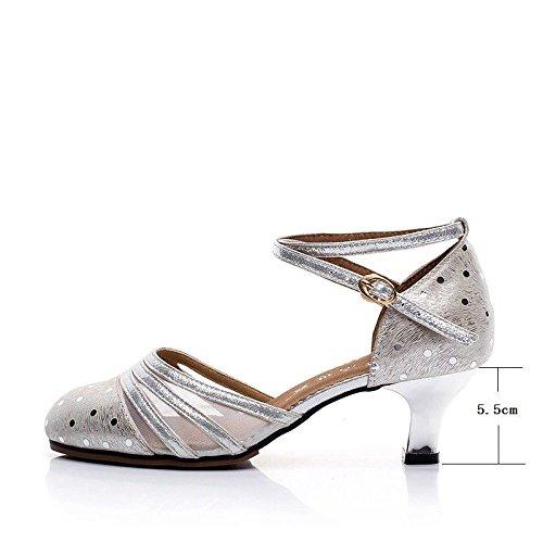 Zapatos Zapatos de de de Cuero Suave salón Baile de Mujeres de Baile Femenino de Baile Latino de con Mujer Cuero Zapatos Zapatos Silver de Cuadrados Wxmddn zw6ddB