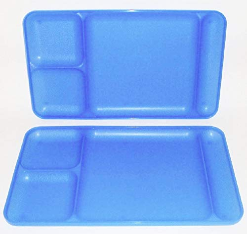 Tupperware Divided Dining TV Trays Picnic Kids Lunch Plates Sheer Blue ()