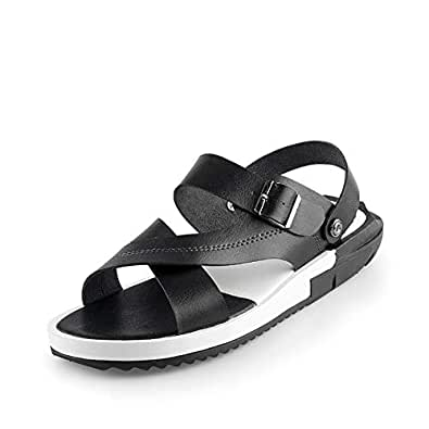 Xujw-shoes, Mens Water Slippers Summer Beach Sandals for Men Anti Slip Microfiber Leather Open Toe Strong Antislip Buckle Closure Ankle Strap Lightweigt (Color : Black, Size : 6 UK)