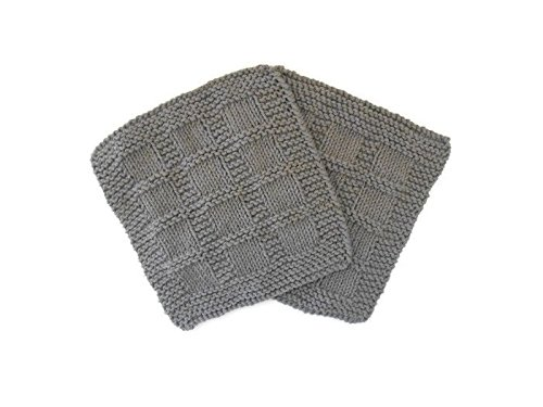 Hand Knit Gray Cotton Dishcloths, Set of Two