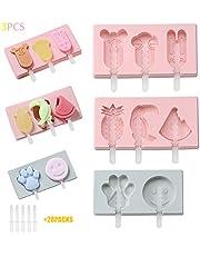 Ice Lolly Mallen,X-BLTU DIY popsicle mallen set,3 Ice Lolly Makers en 28 Popsicle Sticks Silicone,Frozen Purees Molds Ice Cream Mold met deksel,BPA gratis voor kinderen,Peuters en volwassenen
