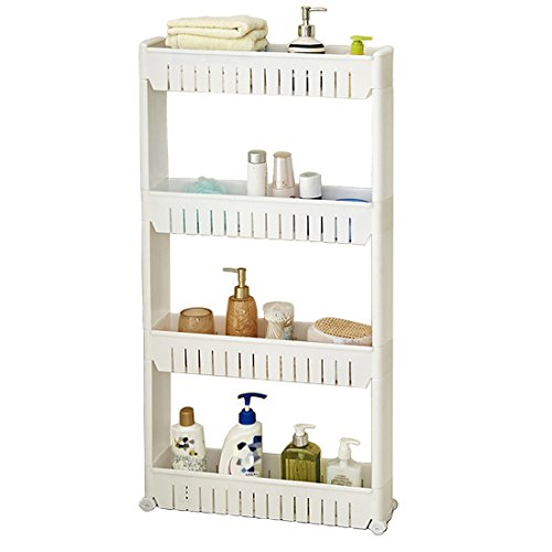 - Tosnail 4-Tiers Slim Slide Out Storage Tower - Great for Kitchen, Bathroom Home Organizer - Updated