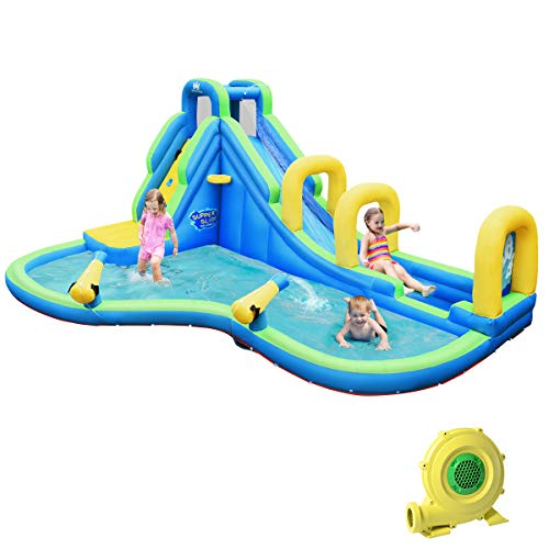 BOUNTECH-Inflatable-Water-Slide-Long-Slide-Bouncer-Park-wClimbing-Wall-Splashing-Pool-Water-Cannon-Basketball-Scoop-Including-Oxford-Carry-Bag-Repair-Kit-Stakes-Hose-with-750W-Air-Blower