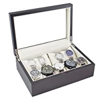 Premium Dark Walnut Wood Watch Box Display Storage Case with Full View Glass Top Holds 10+ Watches Adjustable Soft Pillows High Clearance for Larger Watches-Vintage Series II from Caddy Bay Collection