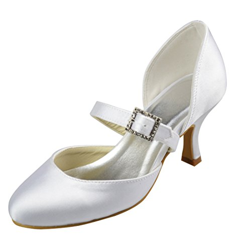 Minishion Womens Kattunge Häl Satin Kväll Party Brud Bröllop Mary Jane Skor Elfenbens 6cm Klack
