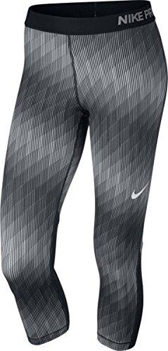 Nike Womens Pro Cool Stairstep Capri, L, Black