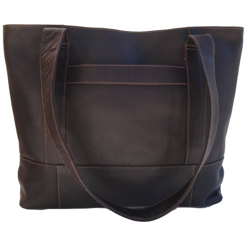- Piel Leather Top-Zip Tote, Chocolate, One Size