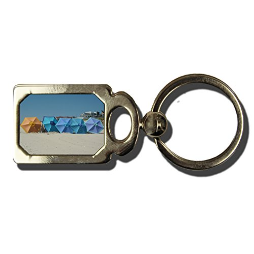 Summer Beach Umbrella One Side Framed Metal Key Chain from Style in Print