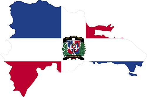Map with flag inside dominican republic 4x5.5 sticker decal die cut vinyl - Made and Shipped in USA (Dominican Republic Scrapbooking)