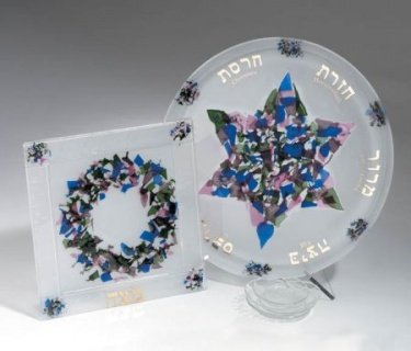 Beames Designs Passover (Pesach) Seder Plate and Matza Plate (Beames Designs)
