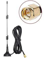 TengKo 2,4 GHz WiFi antenne SMA stekker met magnetische voet, 10ft / 3M 7dBi Gain HD draadloze bewakingscamera video antenneverlenging voor CCTV bewakingscamera IP camera SMA stekker