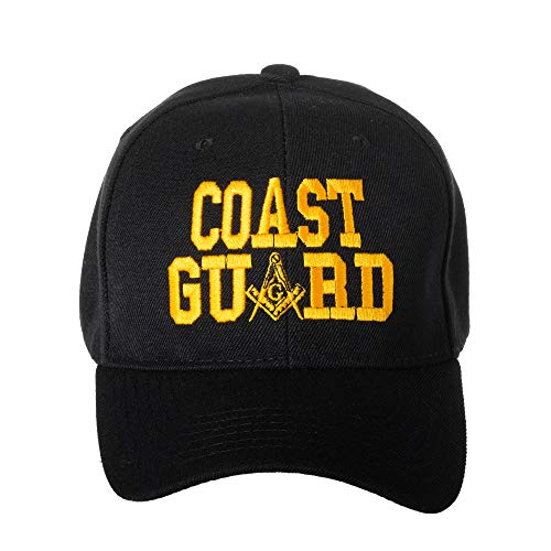 United States Coast Guard Masonic Square and Compass Embroidered Black Baseball Cap