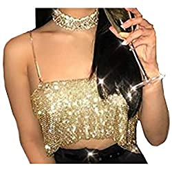 Gold Sequin With Chain Strap Crop Tank Top
