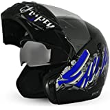 Vega Boolean Escape Flip-up Graphic Helmet with Double Visor (Black and Silver, L)