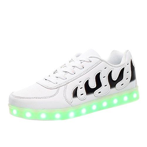 Matari Älskare Man Kvinna Usb-laddning Ledde Skor Tillfällig Walking Mode Sneakers Vita