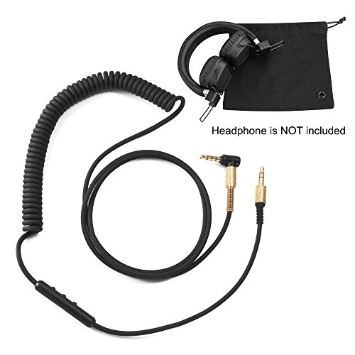 XCSOURCE 3.5mm Replacement Audio Aux Cable Headphone Cord with Mic and Volume Control + Carrying Pouch for Marshall Major II/Monitor/MID BT TH788